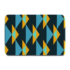 Yellow Blue Triangles Pattern                                                       Plate Mat by LalyLauraFLM