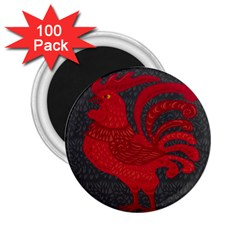 Red Fire Chicken Year 2 25  Magnets (100 Pack)  by Valentinaart