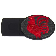 Red Fire Chicken Year Usb Flash Drive Oval (4 Gb)