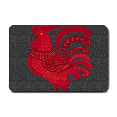 Red Fire Chicken Year Small Doormat  by Valentinaart