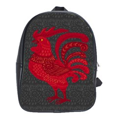 Red Fire Chicken Year School Bags(large)  by Valentinaart