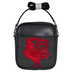 Red Fire Chicken Year Girls Sling Bags by Valentinaart