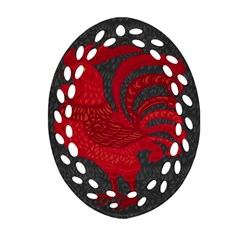 Red Fire Chicken Year Ornament (oval Filigree) by Valentinaart
