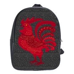 Red Fire Chicken Year School Bags (xl)  by Valentinaart