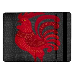 Red Fire Chicken Year Samsung Galaxy Tab Pro 12 2  Flip Case by Valentinaart