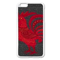 Red Fire Chicken Year Apple Iphone 6 Plus/6s Plus Enamel White Case by Valentinaart
