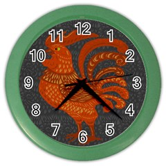 Chicken Year Color Wall Clocks by Valentinaart