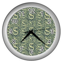 Money Symbol Ornament Wall Clocks (silver)