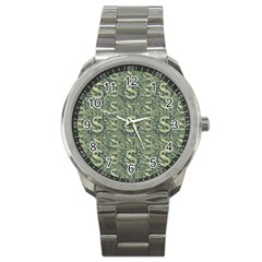 Money Symbol Ornament Sport Metal Watch