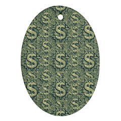 Money Symbol Ornament Oval Ornament (two Sides)