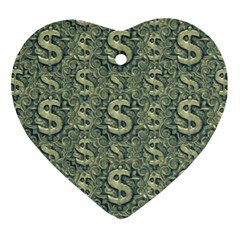 Money Symbol Ornament Heart Ornament (two Sides)