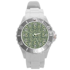 Money Symbol Ornament Round Plastic Sport Watch (l)