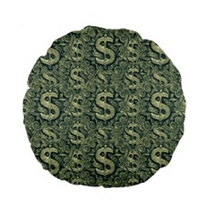 Money Symbol Ornament Standard 15  Premium Round Cushions