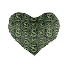 Money Symbol Ornament Standard 16  Premium Flano Heart Shape Cushions