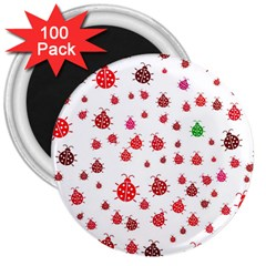 Beetle Animals Red Green Fly 3  Magnets (100 Pack) by Amaryn4rt