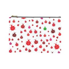 Beetle Animals Red Green Fly Cosmetic Bag (large)  by Amaryn4rt