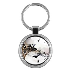 Birds Crows Black Ravens Wing Key Chains (round)  by Amaryn4rt