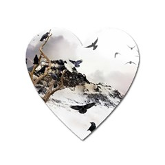 Birds Crows Black Ravens Wing Heart Magnet