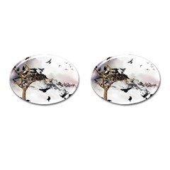Birds Crows Black Ravens Wing Cufflinks (oval) by Amaryn4rt