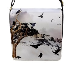 Birds Crows Black Ravens Wing Flap Messenger Bag (l)  by Amaryn4rt
