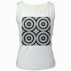 Pattern Tile Seamless Design Women s White Tank Top