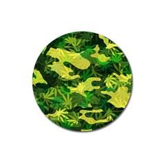 Marijuana Camouflage Cannabis Drug Magnet 3  (round) by Amaryn4rt