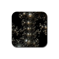 Fractal Math Geometry Backdrop Rubber Square Coaster (4 Pack)  by Amaryn4rt