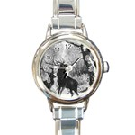 Stag Deer Forest Winter Christmas Round Italian Charm Watch Front