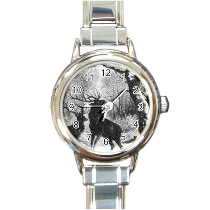 Stag Deer Forest Winter Christmas Round Italian Charm Watch