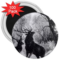 Stag Deer Forest Winter Christmas 3  Magnets (100 Pack) by Amaryn4rt