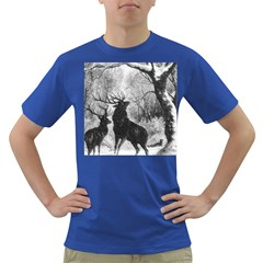 Stag Deer Forest Winter Christmas Dark T Shirt by Amaryn4rt