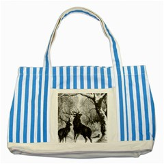 Stag Deer Forest Winter Christmas Striped Blue Tote Bag by Amaryn4rt