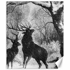 Stag Deer Forest Winter Christmas Canvas 20  X 24   by Amaryn4rt