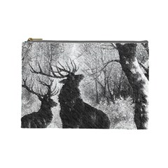 Stag Deer Forest Winter Christmas Cosmetic Bag (large)  by Amaryn4rt