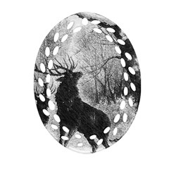 Stag Deer Forest Winter Christmas Ornament (oval Filigree) by Amaryn4rt