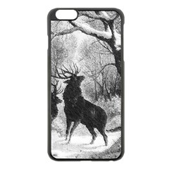 Stag Deer Forest Winter Christmas Apple Iphone 6 Plus/6s Plus Black Enamel Case by Amaryn4rt