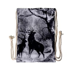 Stag Deer Forest Winter Christmas Drawstring Bag (small) by Amaryn4rt