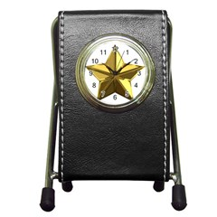 Stars Gold Color Transparency Pen Holder Desk Clocks by Amaryn4rt
