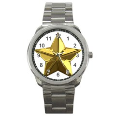 Stars Gold Color Transparency Sport Metal Watch by Amaryn4rt