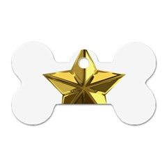 Stars Gold Color Transparency Dog Tag Bone (two Sides)