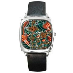 Painted Fractal Square Metal Watch by Fractalworld