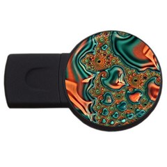 Painted Fractal Usb Flash Drive Round (4 Gb) by Fractalworld