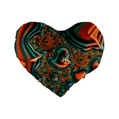 Painted Fractal Standard 16  Premium Flano Heart Shape Cushions by Fractalworld