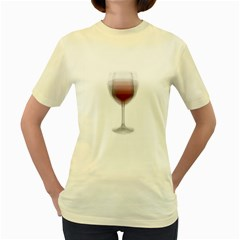 Wine Glass Steve Socha Women s Yellow T Shirt by WineGlassOverlay