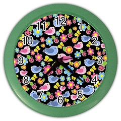 Spring Pattern   Black Color Wall Clocks by Valentinaart