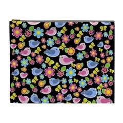 Spring Pattern   Black Cosmetic Bag (xl) by Valentinaart