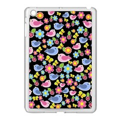 Spring Pattern   Black Apple Ipad Mini Case (white) by Valentinaart