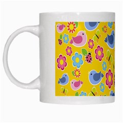 Spring Pattern   Yellow White Mugs by Valentinaart