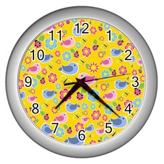 Spring Pattern   Yellow Wall Clocks (silver)  by Valentinaart