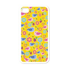 Spring Pattern   Yellow Apple Iphone 4 Case (white) by Valentinaart